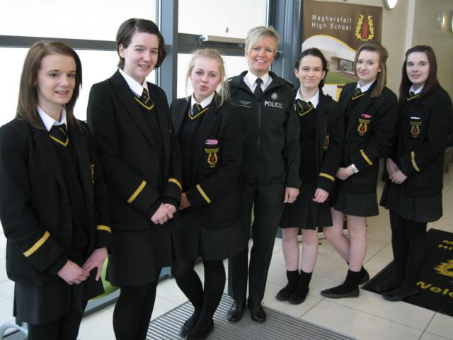 "Magherafelt High School Year 10 students interview Assistant Chief Constable   Judith Gillespie as part of the ""Civic Voice"" initiative"